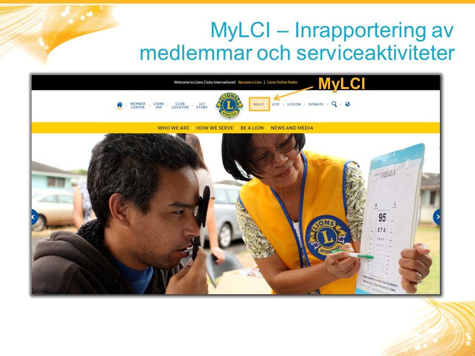 MyLCI – Inrapportering av medlemmar och serviceaktiviteter MyLCI