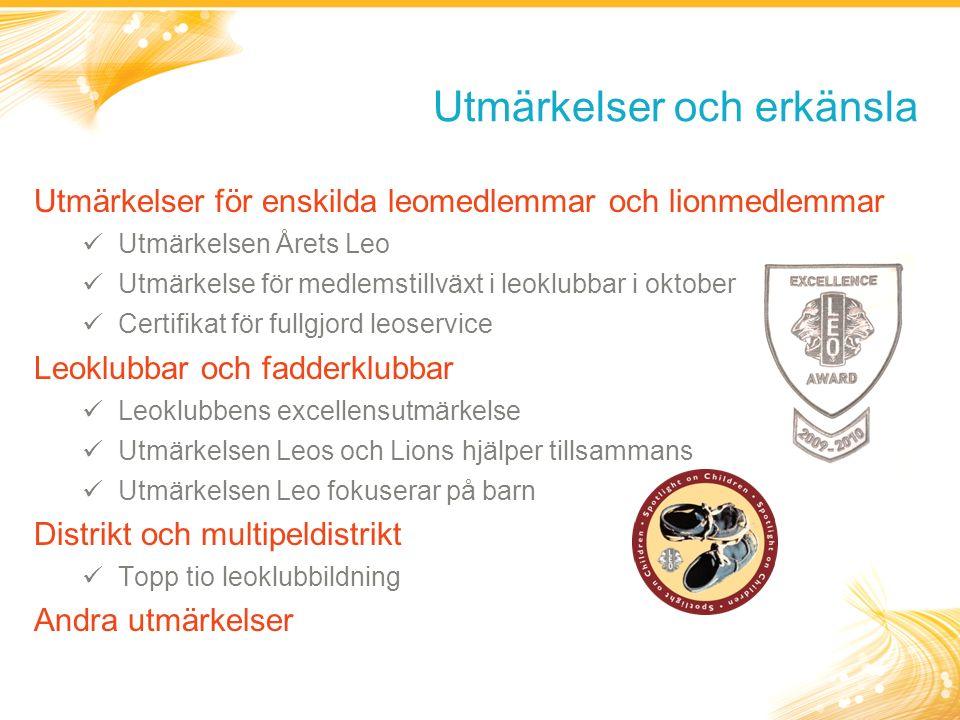 Utmärkelser och erkänsla Utmärkelser för enskilda leomedlemmar och lionmedlemmar Utmärkelsen Årets Leo Utmärkelse för medlemstillväxt i leoklubbar i oktober Certifikat för fullgjord leoservice Leoklubbar och fadderklubbar Leoklubbens excellensutmärkelse Utmärkelsen Leos och Lions hjälper tillsammans Utmärkelsen Leo fokuserar på barn Distrikt och multipeldistrikt Topp tio leoklubbildning Andra utmärkelser