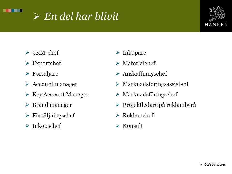  En del har blivit  CRM-chef  Exportchef  Försäljare  Account manager  Key Account Manager  Brand manager  Försäljningschef  Inköpschef  Inköpare  Materialchef  Anskaffningschef  Marknadsföringsassistent  Marknadsföringschef  Projektledare på reklambyrå  Reklamchef  Konsult  © Åke Finne 2016