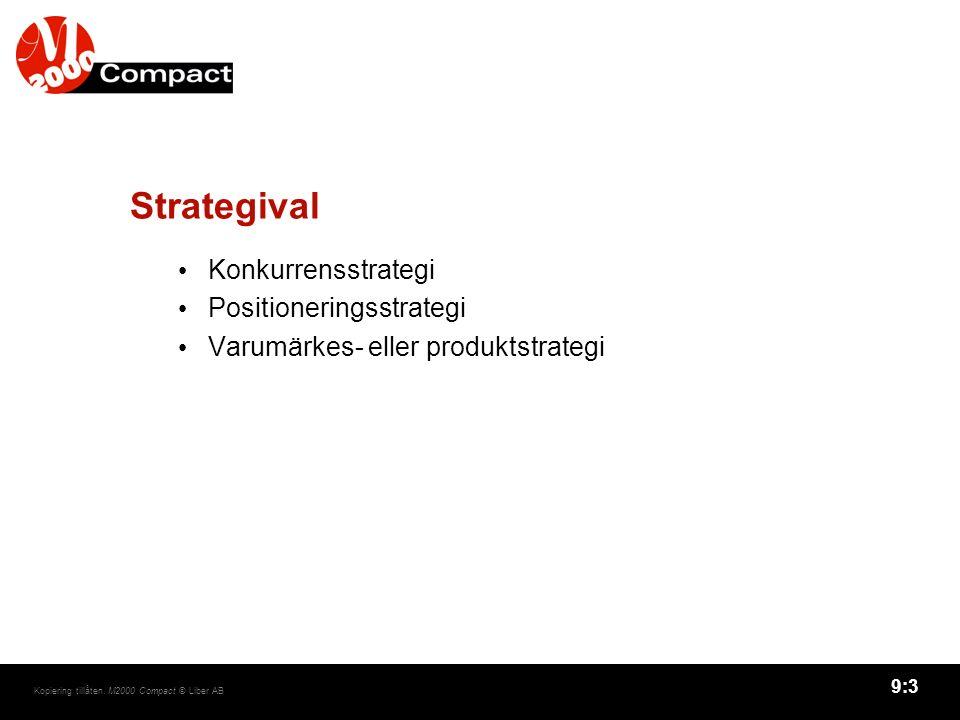 9:3 Kopiering tillåten. M2000 Compact © Liber AB Strategival Konkurrensstrategi Positioneringsstrategi Varumärkes- eller produktstrategi