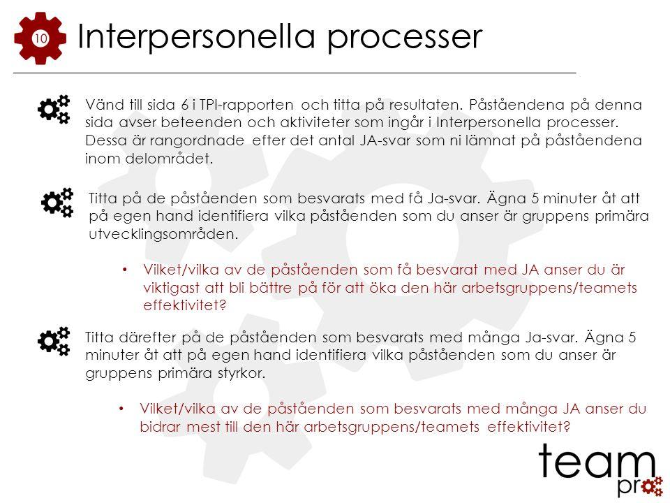 Interpersonella processer Vänd till sida 6 i TPI-rapporten och titta på resultaten.