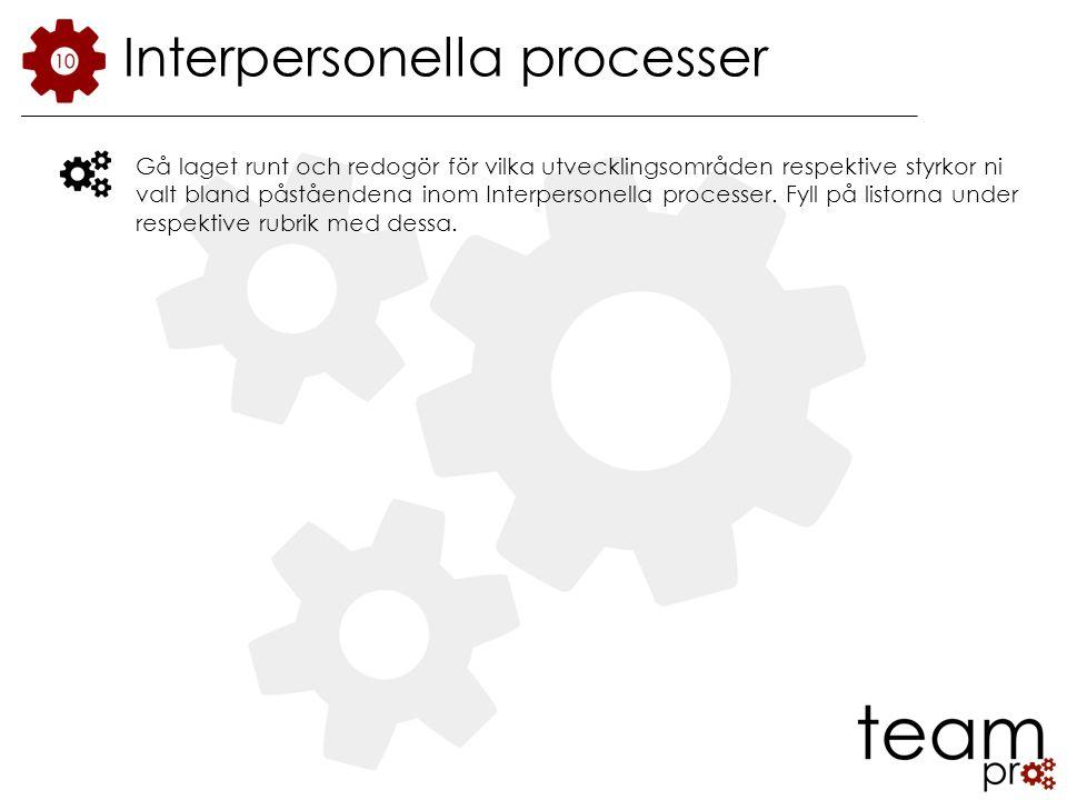 Interpersonella processer Gå laget runt och redogör för vilka utvecklingsområden respektive styrkor ni valt bland påståendena inom Interpersonella processer.