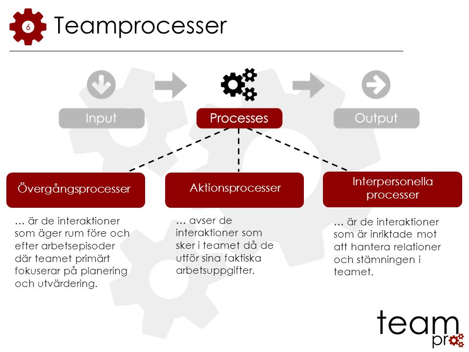 Aktionsprocesser … avser de interaktioner som sker i teamet då de utför sina faktiska arbetsuppgifter.
