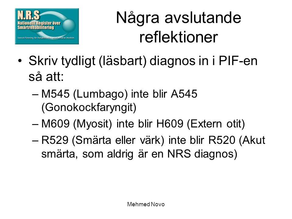 Mehmed Novo Några avslutande reflektioner Skriv tydligt (läsbart) diagnos in i PIF-en så att: –M545 (Lumbago) inte blir A545 (Gonokockfaryngit) –M609 (Myosit) inte blir H609 (Extern otit) –R529 (Smärta eller värk) inte blir R520 (Akut smärta, som aldrig är en NRS diagnos)