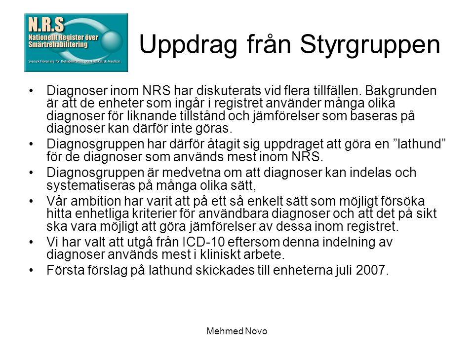 Mehmed Novo Uppdrag från Styrgruppen Diagnoser inom NRS har diskuterats vid flera tillfällen.