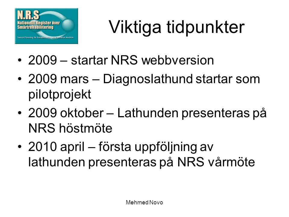 Mehmed Novo Viktiga tidpunkter 2009 – startar NRS webbversion 2009 mars – Diagnoslathund startar som pilotprojekt 2009 oktober – Lathunden presenteras på NRS höstmöte 2010 april – första uppföljning av lathunden presenteras på NRS vårmöte