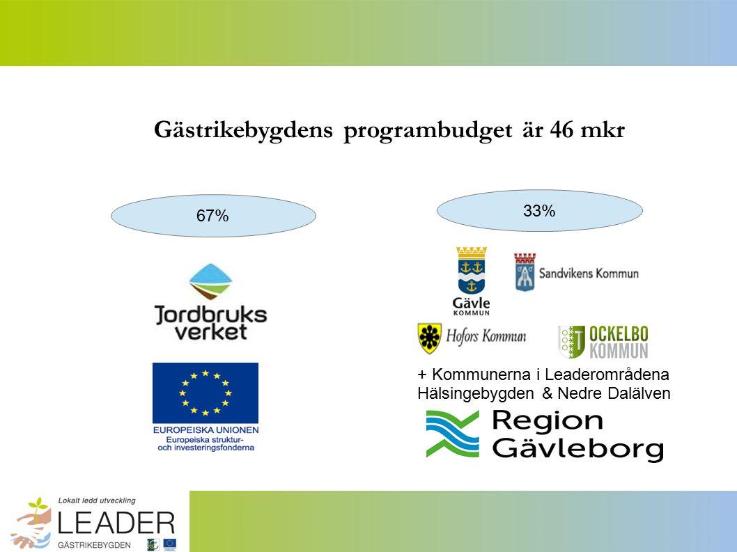 Gästrikebygdens programbudget är 46 mkr 67% 33% + Kommunerna i Leaderområdena Hälsingebygden & Nedre Dalälven
