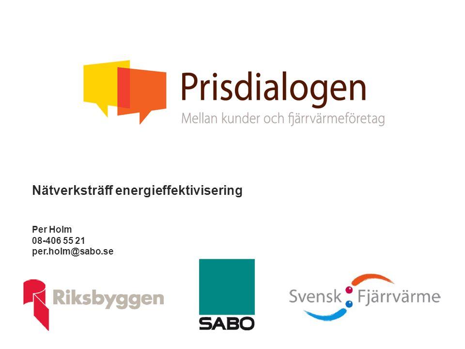 Nätverksträff energieffektivisering Per Holm 08-406 55 21 per.holm@sabo.se