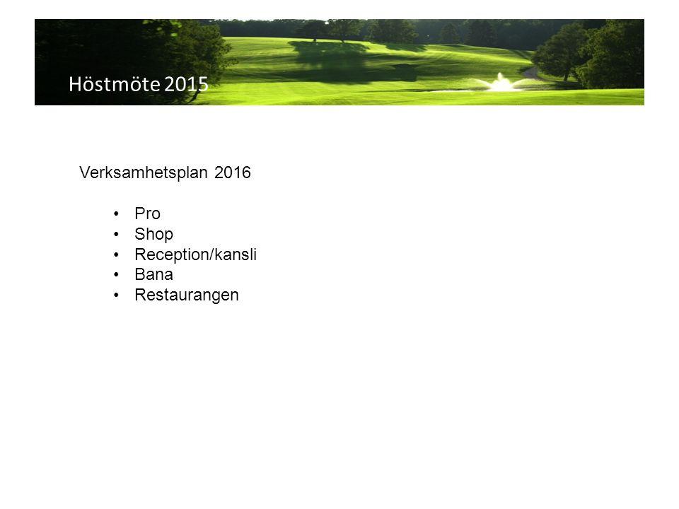 Höstmöte 2015 Verksamhetsplan 2016 Pro Shop Reception/kansli Bana Restaurangen