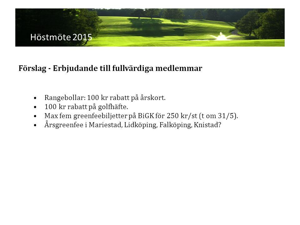 Höstmöte 2015 Rangebollar: 100 kr rabatt på årskort.