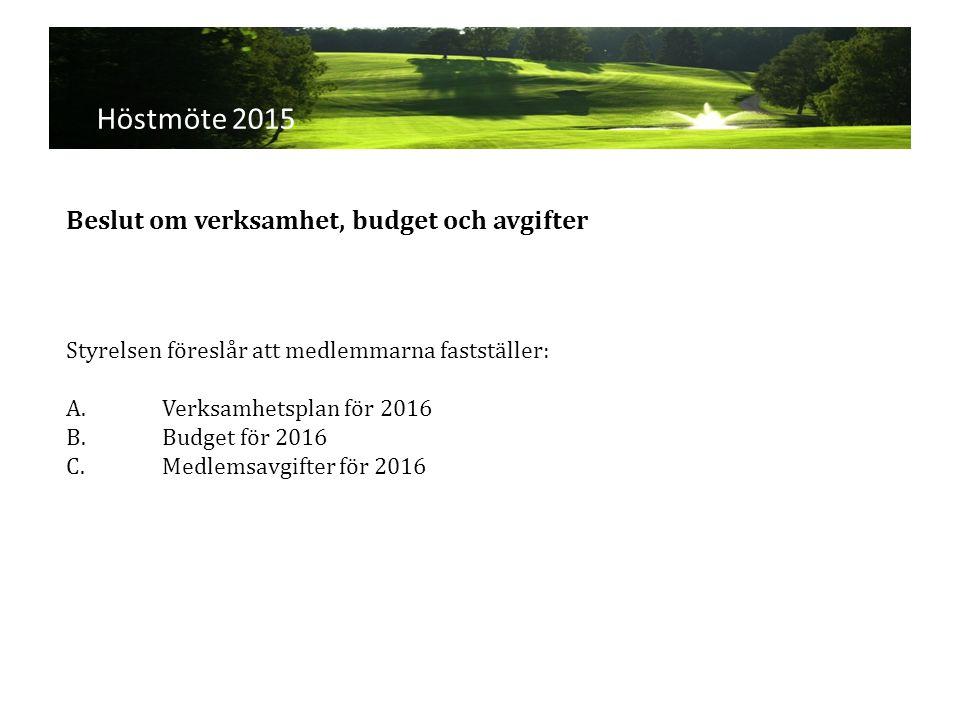 Höstmöte 2015 Styrelsen föreslår att medlemmarna fastställer: A.Verksamhetsplan för 2016 B.Budget för 2016 C.Medlemsavgifter för 2016 Beslut om verksamhet, budget och avgifter