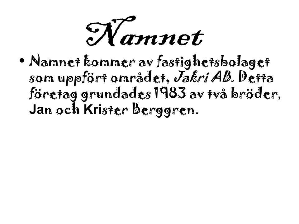 Namnet kommer av fastighetsbolaget som uppfört området, Jakri AB. Detta företag grundades 1983 av två bröder, Ja n och Kri ster Berggren.