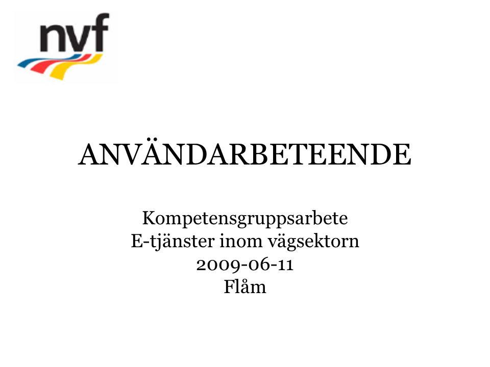 ANVÄNDARBETEENDE Kompetensgruppsarbete E-tjänster inom vägsektorn 2009-06-11 Flåm