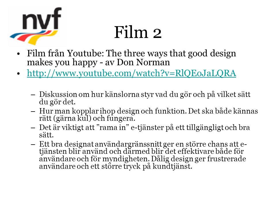 Film 2 Film från Youtube: The three ways that good design makes you happy - av Don Norman http://www.youtube.com/watch?v=RlQEoJaLQRA –Diskussion om hur känslorna styr vad du gör och på vilket sätt du gör det.