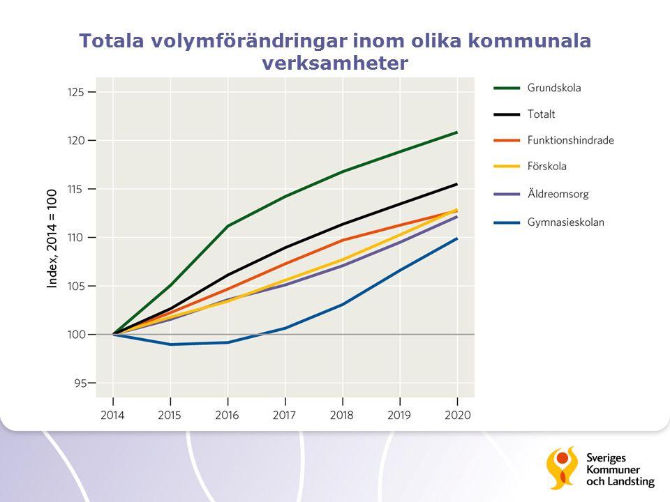 Totala volymförändringar inom olika kommunala verksamheter