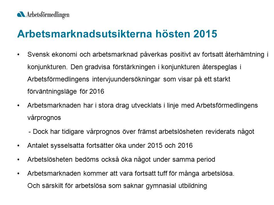 Arbetsmarknadsutsikterna hösten 2015 Svensk ekonomi och arbetsmarknad påverkas positivt av fortsatt återhämtning i konjunkturen.