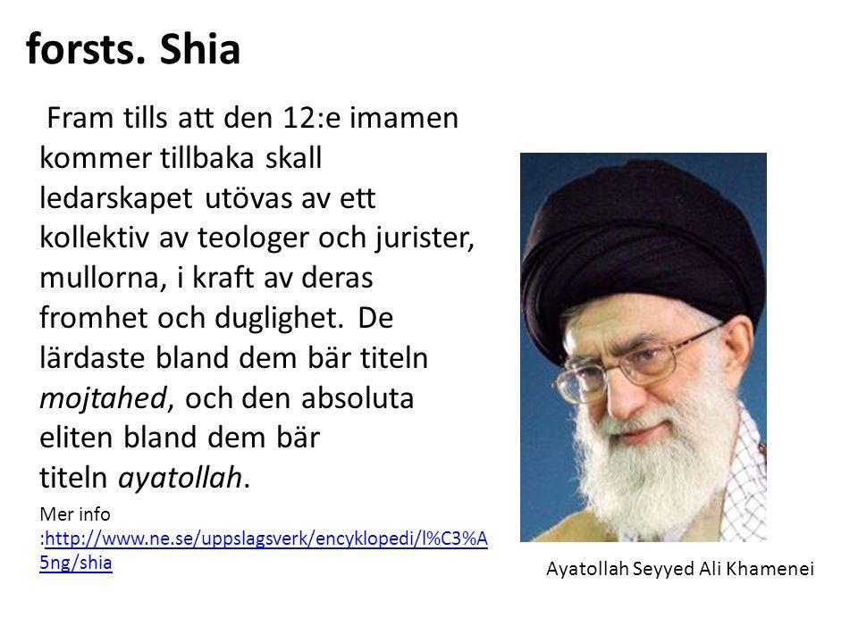 forsts. Shia Fram tills att den 12:e imamen kommer tillbaka skall ledarskapet utövas av ett kollektiv av teologer och jurister, mullorna, i kraft av d