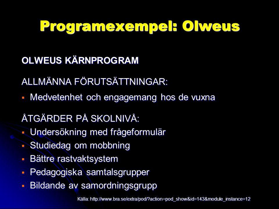 Programexempel: Olweus OLWEUS KÄRNPROGRAM ALLMÄNNA FÖRUTSÄTTNINGAR:  Medvetenhet och engagemang hos de vuxna ÅTGÄRDER PÅ SKOLNIVÅ:  Undersökning med frågeformulär  Studiedag om mobbning  Bättre rastvaktsystem  Pedagogiska samtalsgrupper  Bildande av samordningsgrupp Källa: http://www.bra.se/extra/pod/?action=pod_show&id=143&module_instance=12