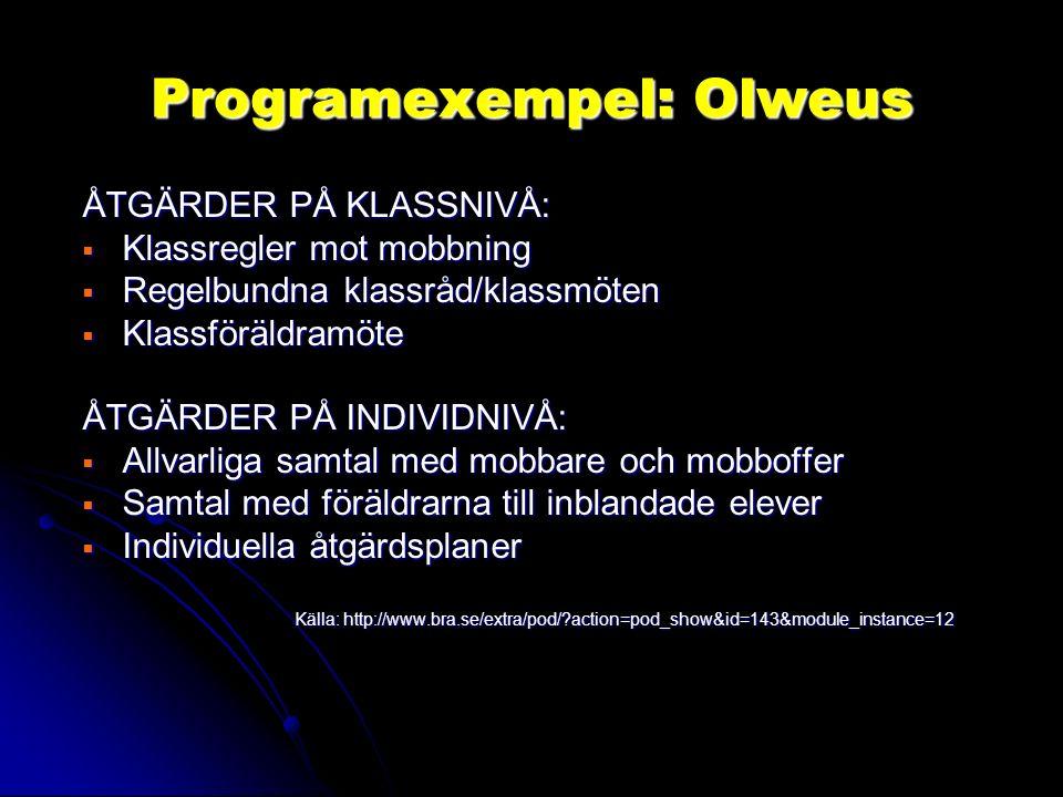 Programexempel: Olweus ÅTGÄRDER PÅ KLASSNIVÅ:  Klassregler mot mobbning  Regelbundna klassråd/klassmöten  Klassföräldramöte ÅTGÄRDER PÅ INDIVIDNIVÅ:  Allvarliga samtal med mobbare och mobboffer  Samtal med föräldrarna till inblandade elever  Individuella åtgärdsplaner Källa: http://www.bra.se/extra/pod/?action=pod_show&id=143&module_instance=12