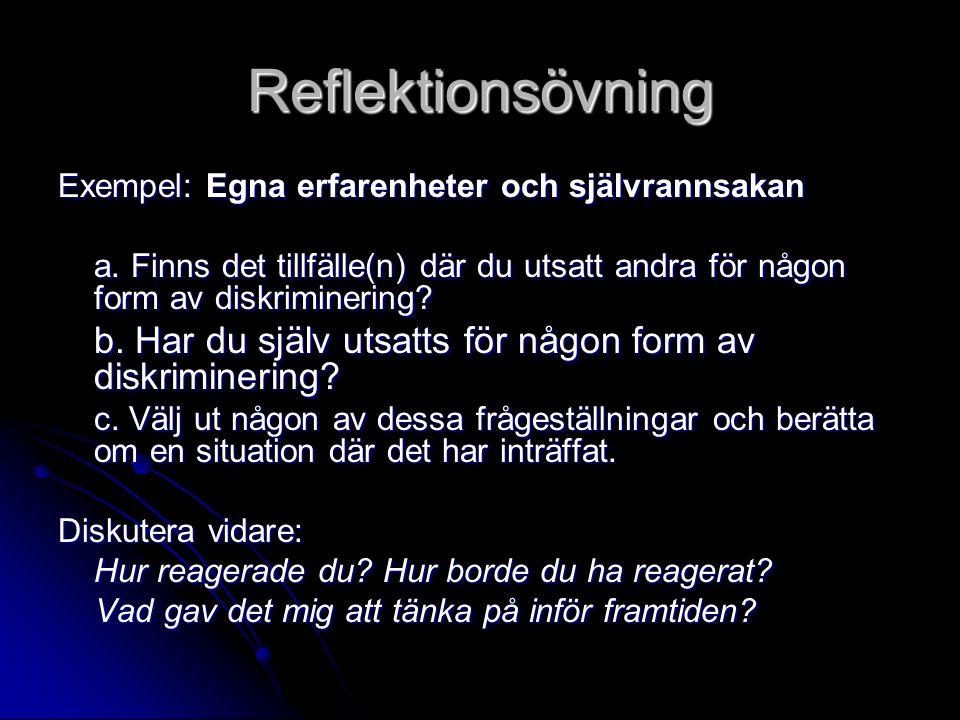 Reflektionsövning Exempel: Egna erfarenheter och självrannsakan a. Finns det tillfälle(n) där du utsatt andra för någon form av diskriminering? b. Har