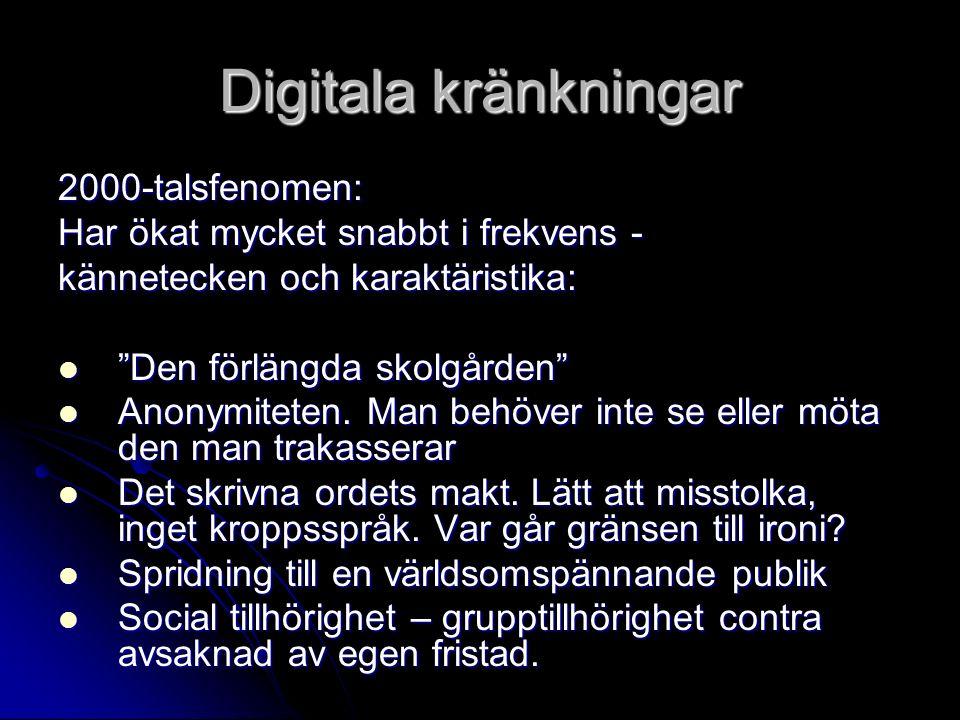 """Digitala kränkningar 2000-talsfenomen: Har ökat mycket snabbt i frekvens - kännetecken och karaktäristika: """"Den förlängda skolgården"""" """"Den förlängda s"""