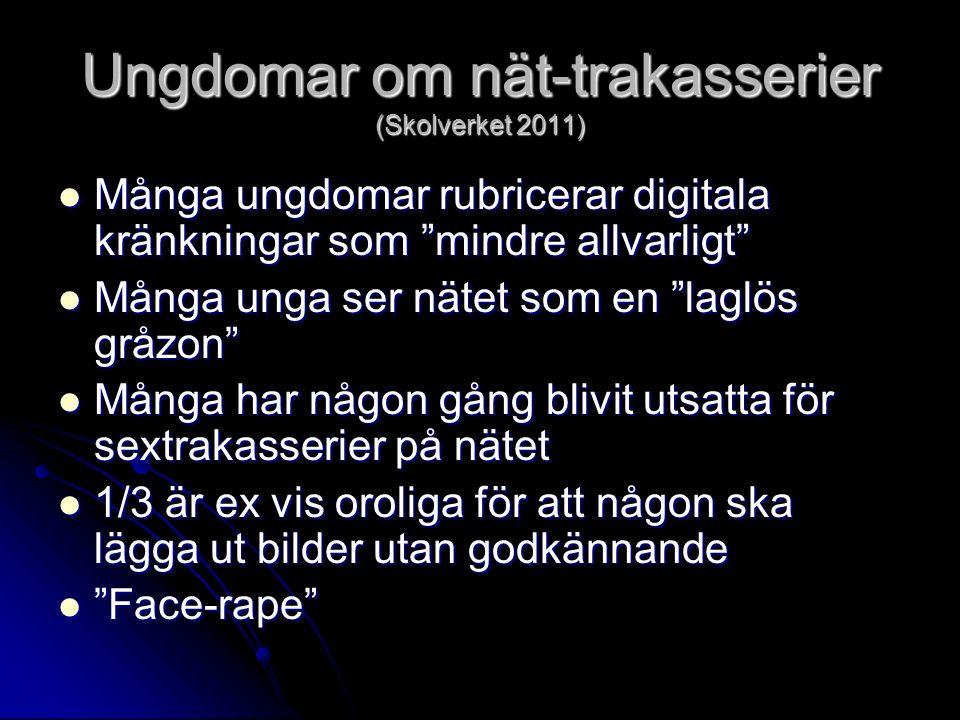 """Ungdomar om nät-trakasserier (Skolverket 2011) Många ungdomar rubricerar digitala kränkningar som """"mindre allvarligt"""" Många ungdomar rubricerar digita"""