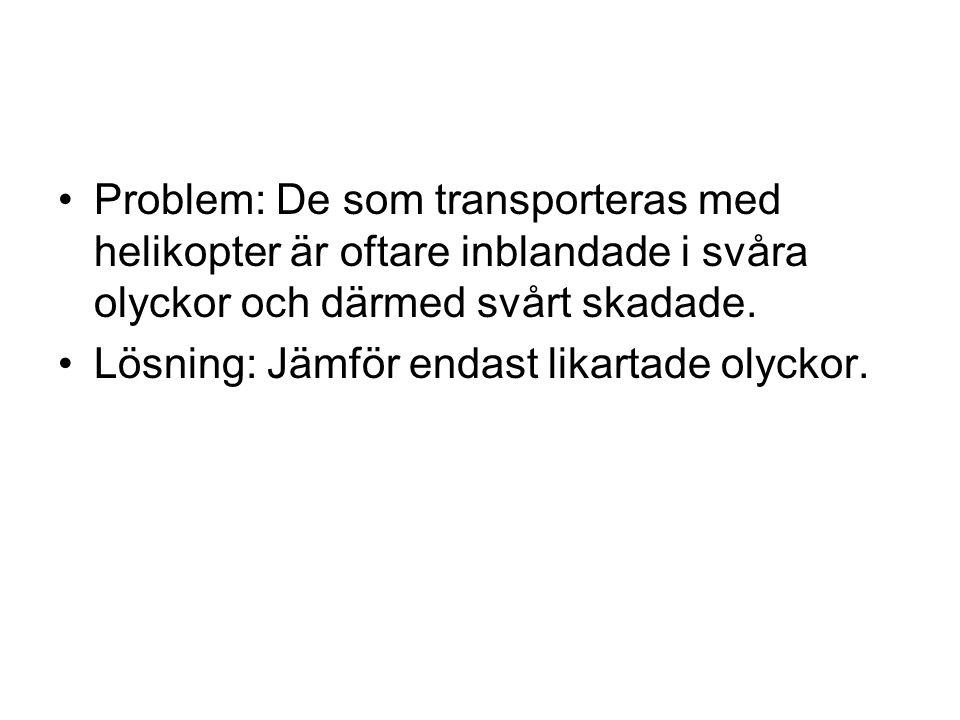 Problem: De som transporteras med helikopter är oftare inblandade i svåra olyckor och därmed svårt skadade.