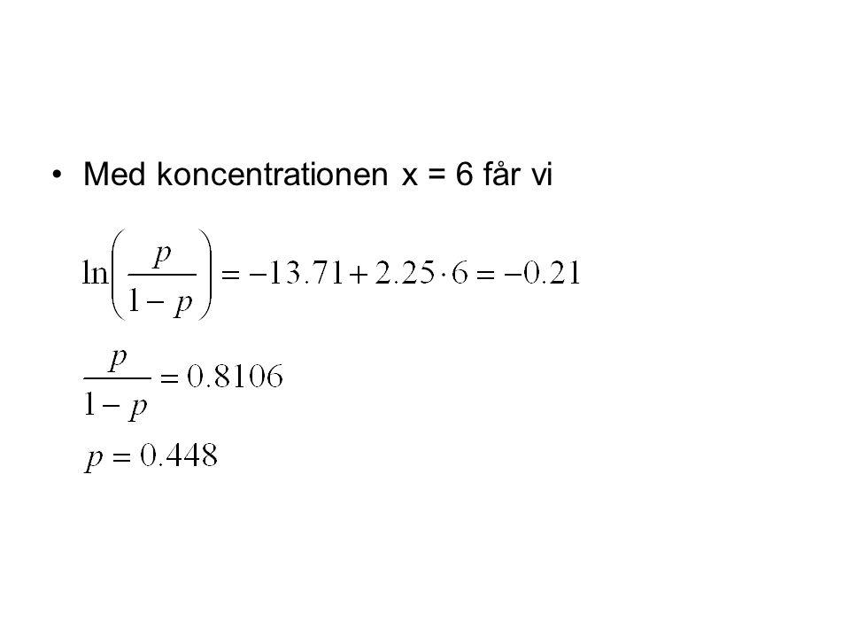 Med koncentrationen x = 6 får vi