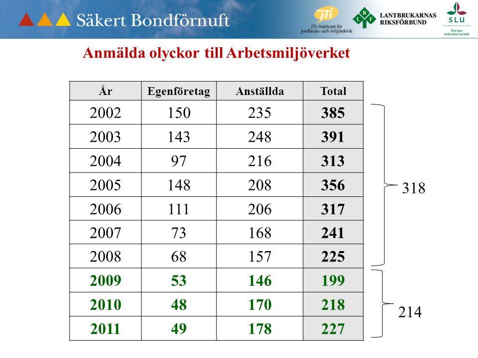 Anmälda olyckor till Arbetsmiljöverket ÅrEgenföretag 2002150 2003143 200497 2005148 2006111 200773 200868 200953 201048 201149 113 50