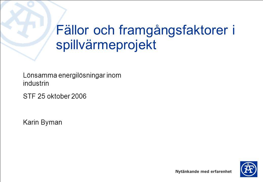 Lönsamma energilösningar inom industrin STF 25 oktober 2006 Karin Byman Fällor och framgångsfaktorer i spillvärmeprojekt