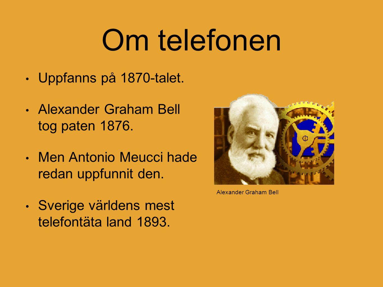 Om telefonen Uppfanns på 1870-talet. Alexander Graham Bell tog paten 1876.