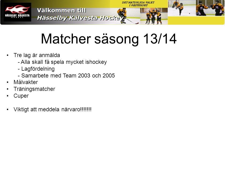Matcher säsong 13/14 Tre lag är anmälda - Alla skall få spela mycket ishockey - Lagfördelning - Samarbete med Team 2003 och 2005 Målvakter Träningsmatcher Cuper Viktigt att meddela närvaro!!!!!!!