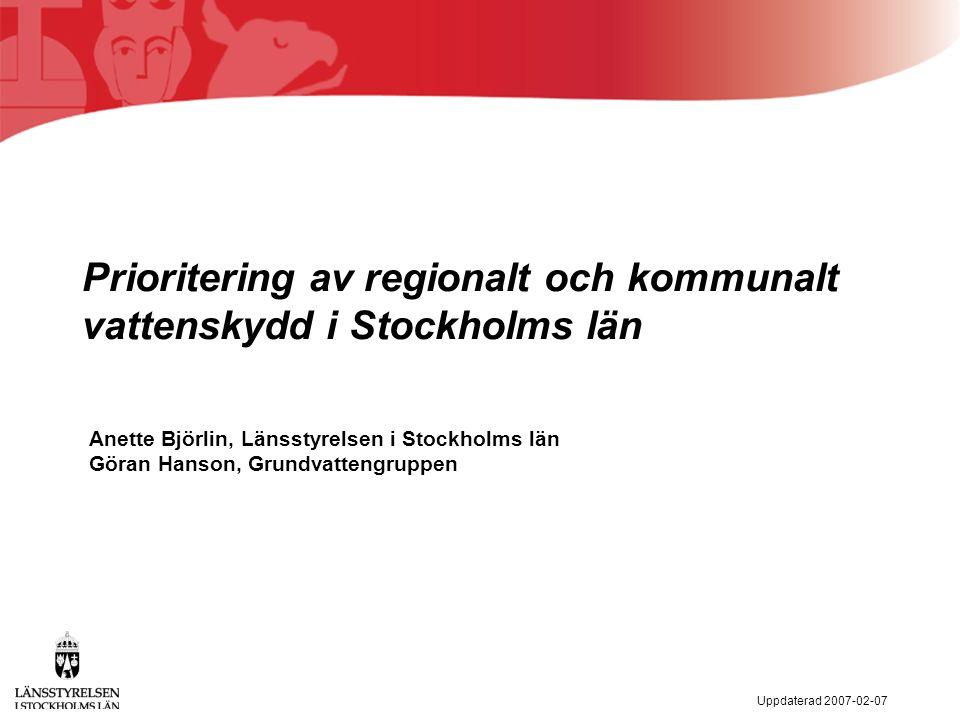 Uppdaterad 2007-02-07 Projektets mål En regionalt förankrad prioritering av vattentillgångar för nuvarande och framtida dricksvattenförsörjning som utgör underlag för samhällsplanering på olika nivåer (regionplan, översiktplaner, detaljplaner etc.) liksom för det framtida vattenskyddsarbetet i Stockholms län.