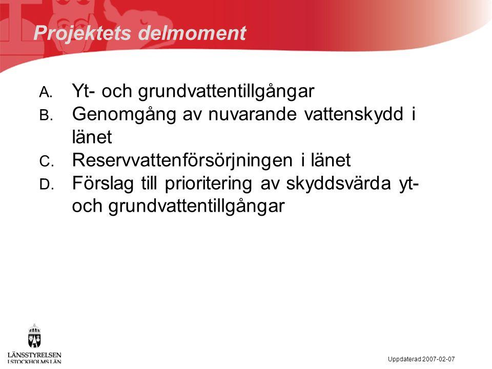 Uppdaterad 2007-02-07 Projektets delmoment A. Yt- och grundvattentillgångar B.