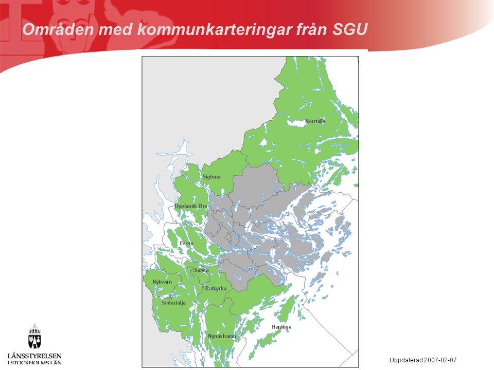 Uppdaterad 2007-02-07 Områden med kommunkarteringar från SGU