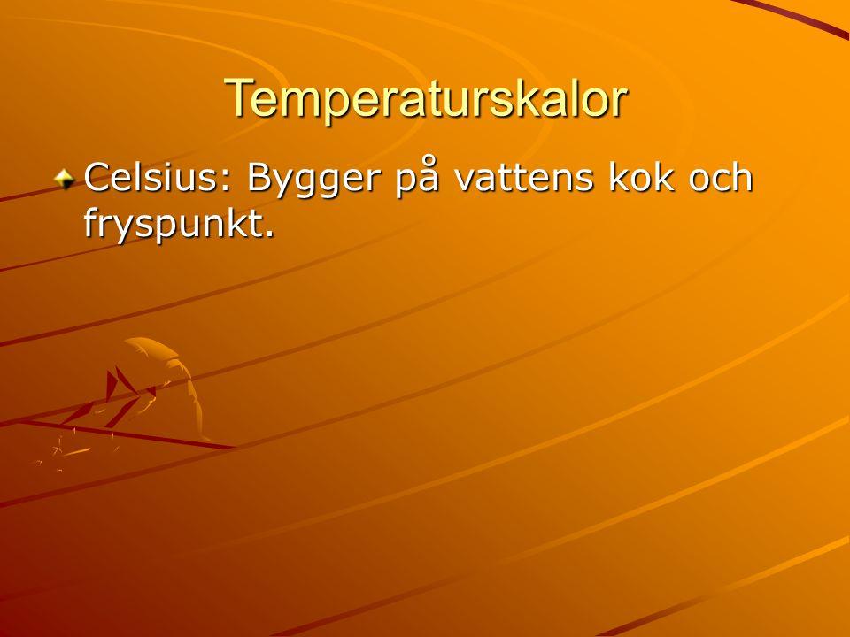 Temperaturskalor Celsius: Bygger på vattens kok och fryspunkt.