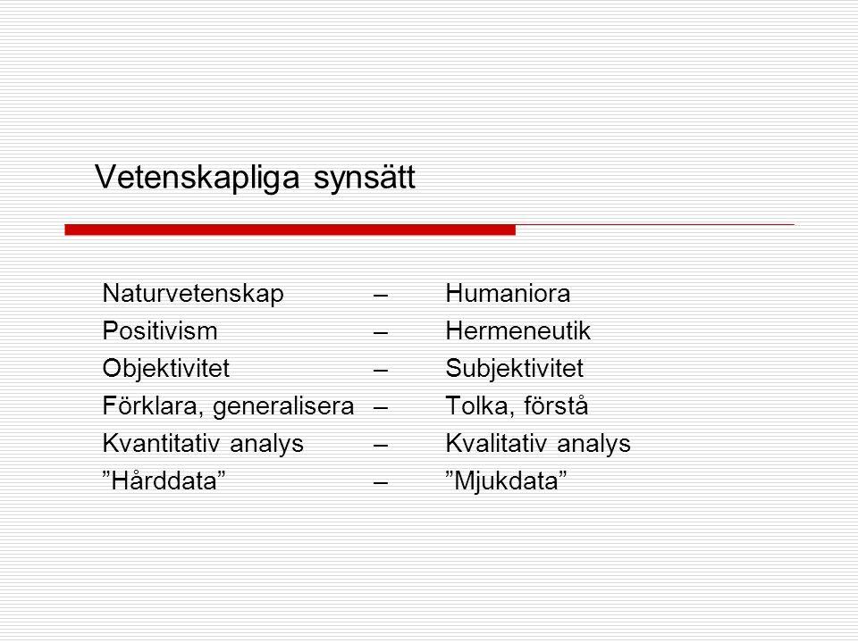 Vetenskapliga synsätt Naturvetenskap –Humaniora Positivism –Hermeneutik Objektivitet –Subjektivitet Förklara, generalisera –Tolka, förstå Kvantitativ analys –Kvalitativ analys Hårddata – Mjukdata