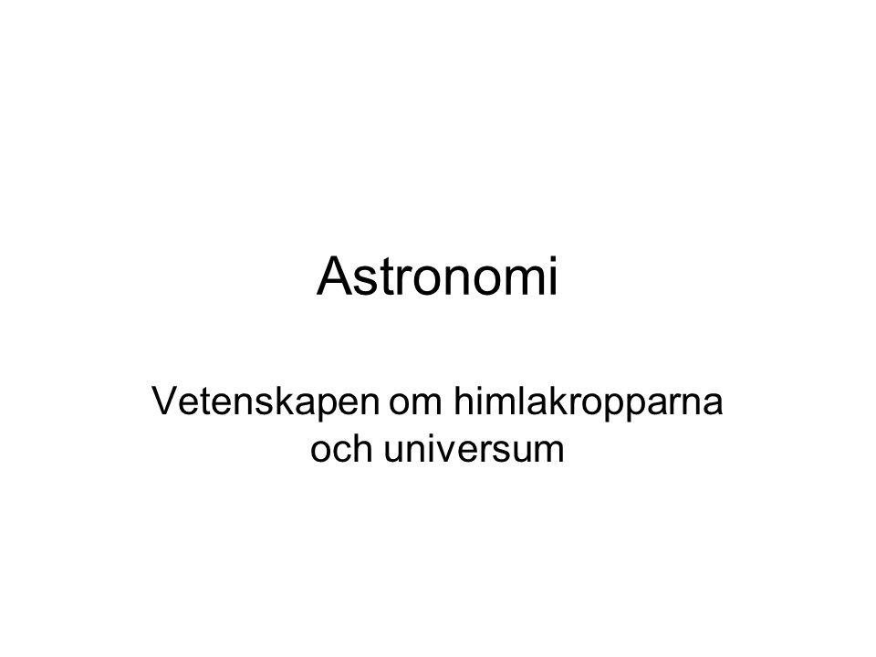 Astronomi Vetenskapen om himlakropparna och universum