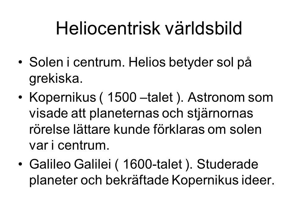 Heliocentrisk världsbild Solen i centrum. Helios betyder sol på grekiska.