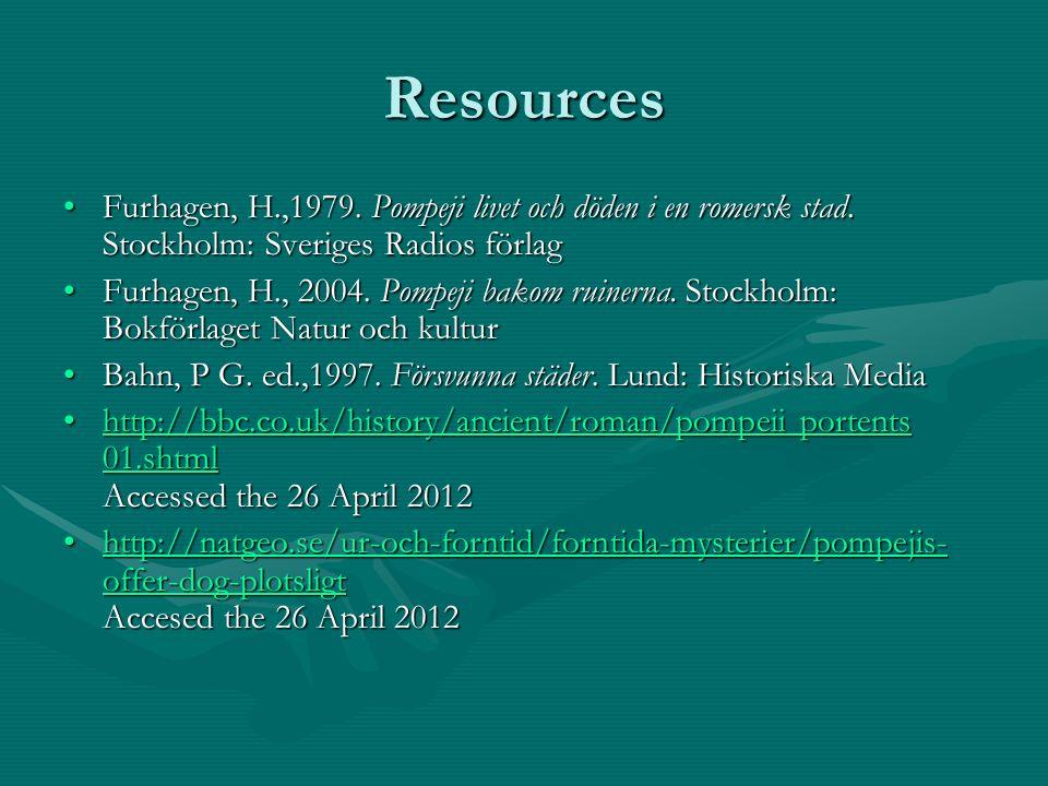 Resources Furhagen, H.,1979. Pompeji livet och döden i en romersk stad. Stockholm: Sveriges Radios förlagFurhagen, H.,1979. Pompeji livet och döden i