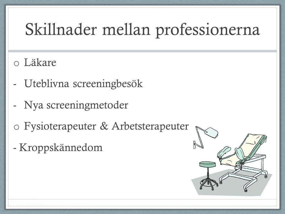 Skillnader mellan professionerna o Läkare -Uteblivna screeningbesök -Nya screeningmetoder o Fysioterapeuter & Arbetsterapeuter - Kroppskännedom