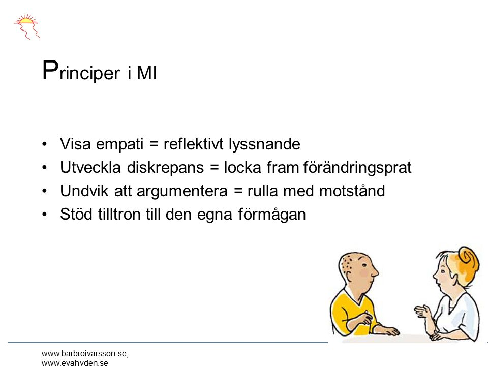 www.barbroivarsson.se, www.evahyden.se P rinciper i MI Visa empati = reflektivt lyssnande Utveckla diskrepans = locka fram förändringsprat Undvik att argumentera = rulla med motstånd Stöd tilltron till den egna förmågan