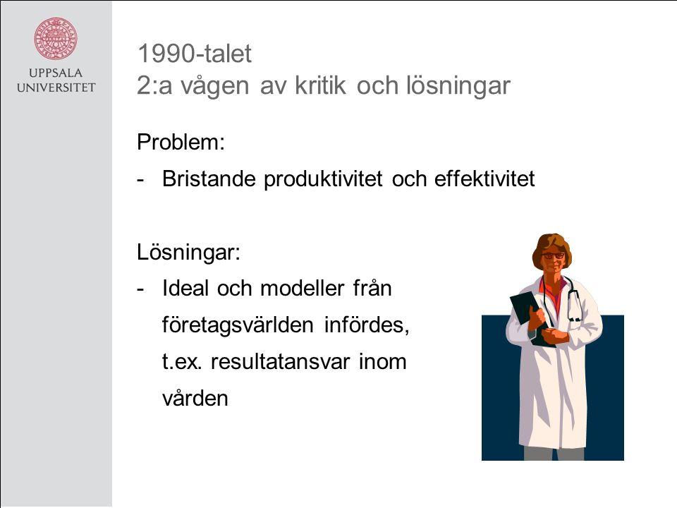 1990-talet 2:a vågen av kritik och lösningar Problem: -Bristande produktivitet och effektivitet Lösningar: -Ideal och modeller från företagsvärlden infördes, t.ex.