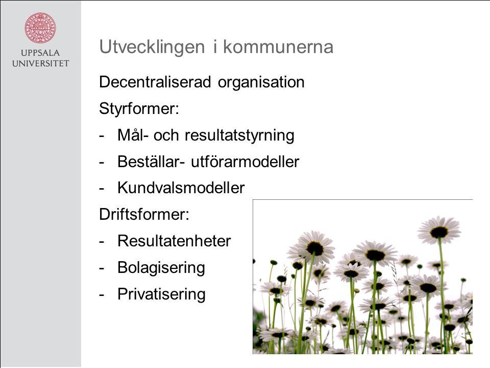 Utvecklingen i kommunerna Decentraliserad organisation Styrformer: -Mål- och resultatstyrning -Beställar- utförarmodeller -Kundvalsmodeller Driftsformer: -Resultatenheter -Bolagisering -Privatisering