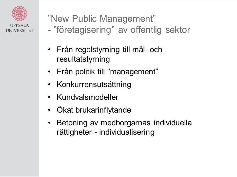 New Public Management - företagisering av offentlig sektor Från regelstyrning till mål- och resultatstyrning Från politik till management Konkurrensutsättning Kundvalsmodeller Ökat brukarinflytande Betoning av medborgarnas individuella rättigheter - individualisering