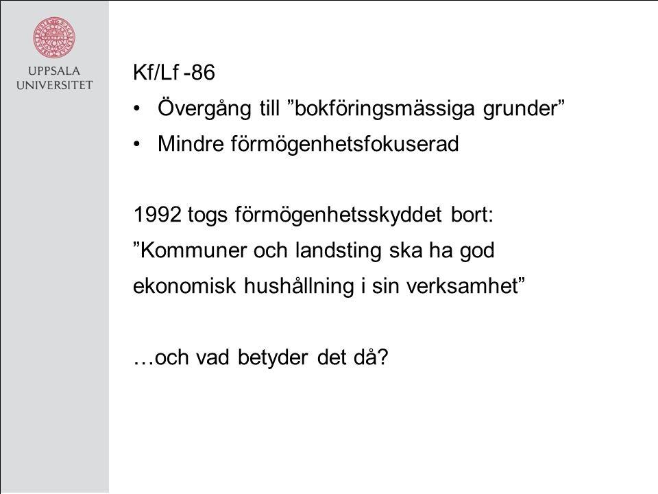 Kf/Lf -86 Övergång till bokföringsmässiga grunder Mindre förmögenhetsfokuserad 1992 togs förmögenhetsskyddet bort: Kommuner och landsting ska ha god ekonomisk hushållning i sin verksamhet …och vad betyder det då