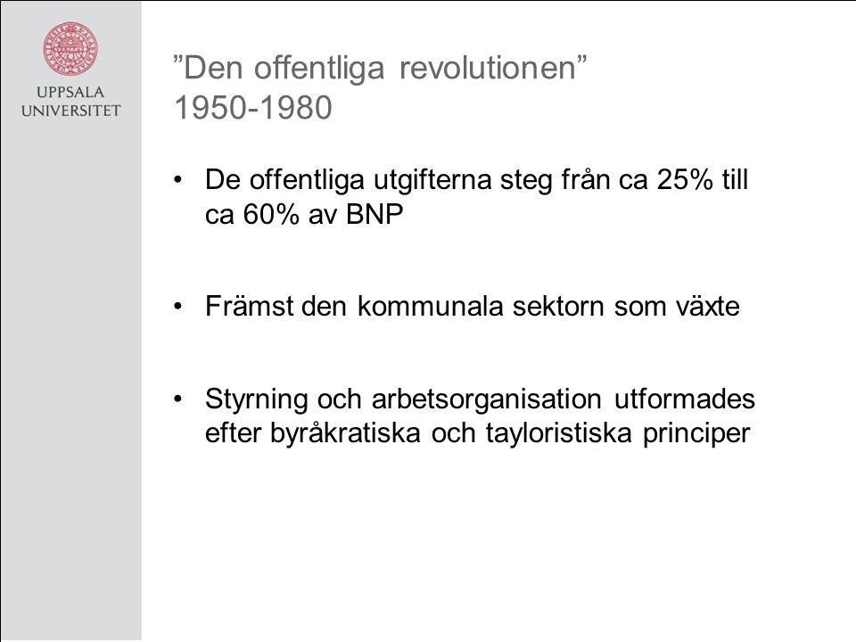 Den offentliga revolutionen 1950-1980 De offentliga utgifterna steg från ca 25% till ca 60% av BNP Främst den kommunala sektorn som växte Styrning och arbetsorganisation utformades efter byråkratiska och tayloristiska principer
