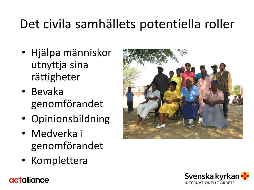 Hjälpa människor utnyttja sina rättigheter Bevaka genomförandet Opinionsbildning Medverka i genomförandet Komplettera 4 Det civila samhällets potentie