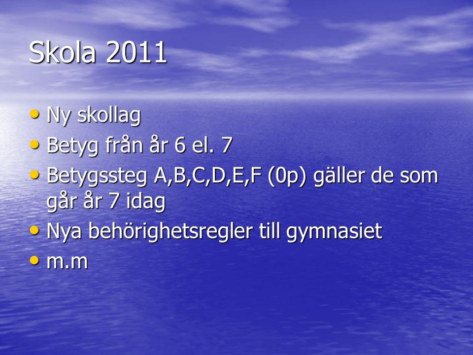 Skola 2011 Ny skollag Ny skollag Betyg från år 6 el.
