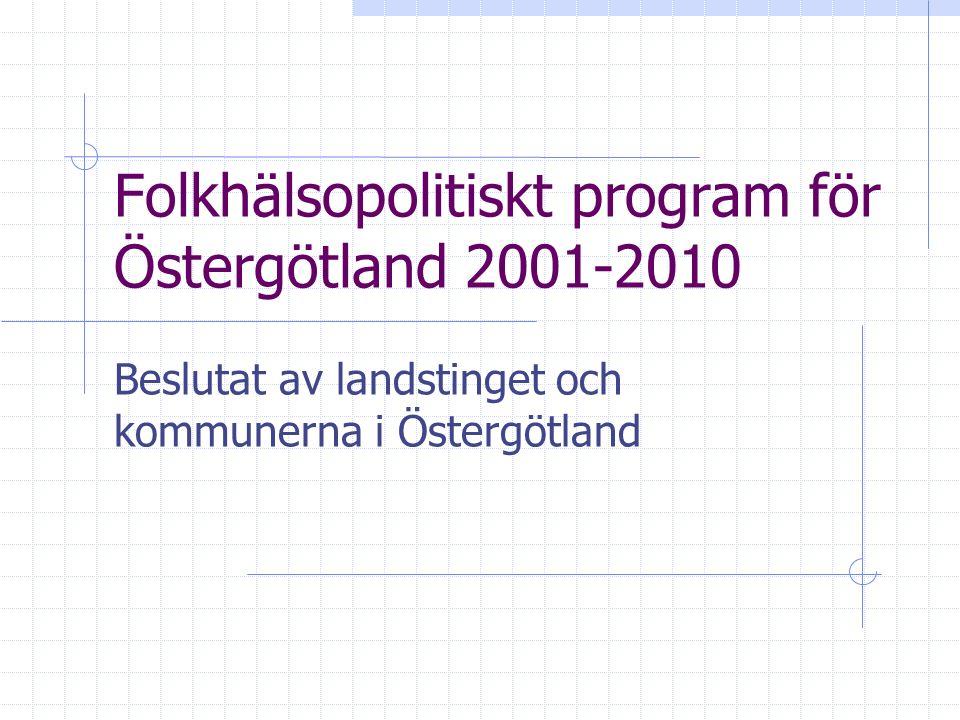 Folkhälsopolitiskt program för Östergötland 2001-2010 Beslutat av landstinget och kommunerna i Östergötland
